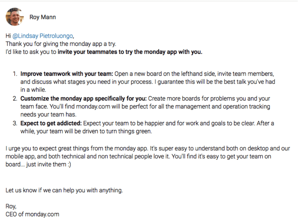 monday welcome roy mann project management