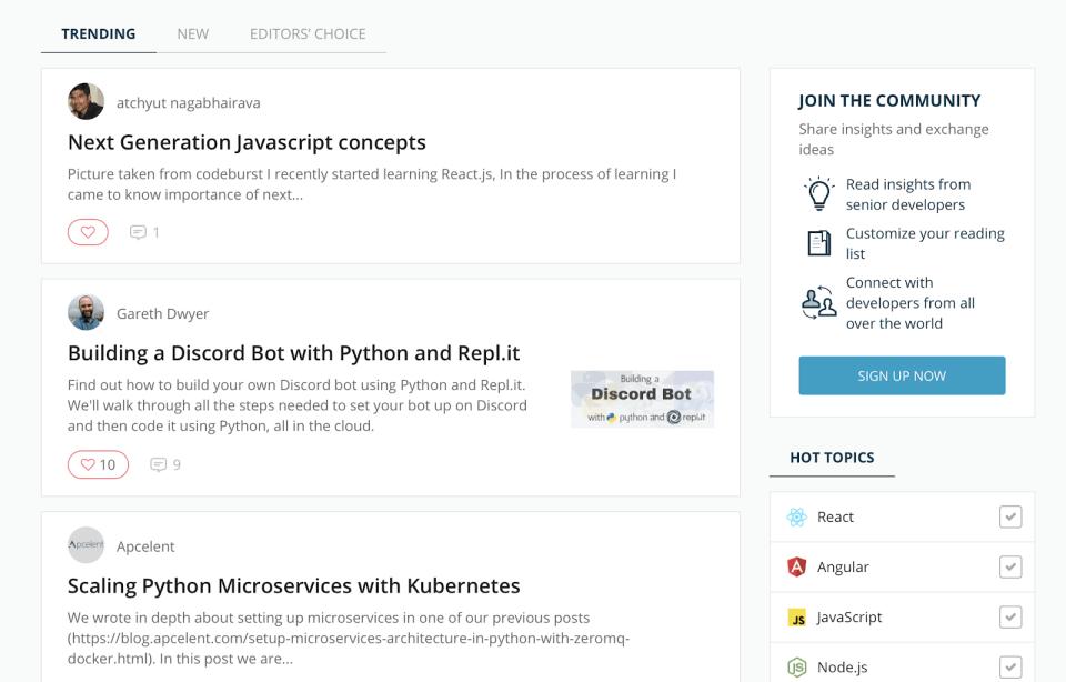 Codementor Trending Dashboard