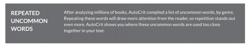 Autocrit repeated uncommon words