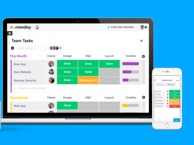 monday.com team task dashboard