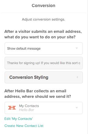 Hello Bar Conversation Settings