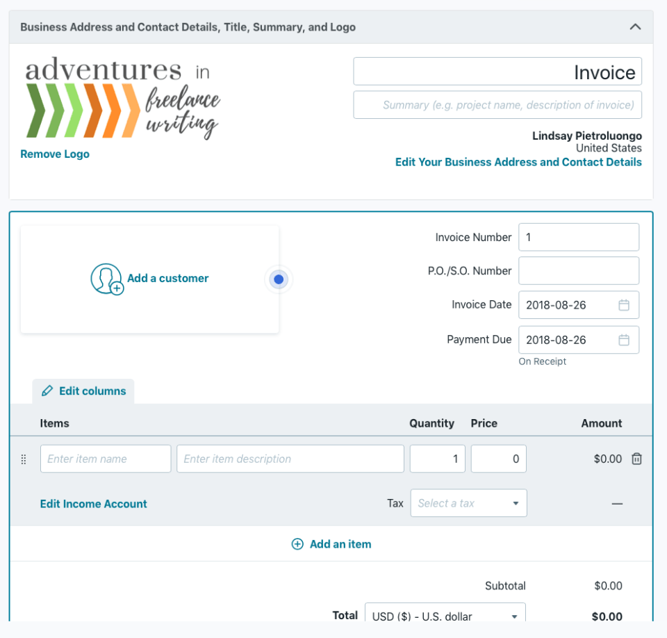Wave Customize Your Invoice
