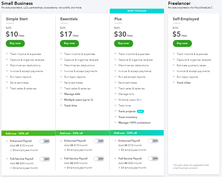 A screenshot of quickbooks pricing table