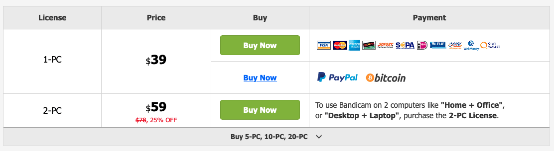 Bandicam Screen Recorder pricing