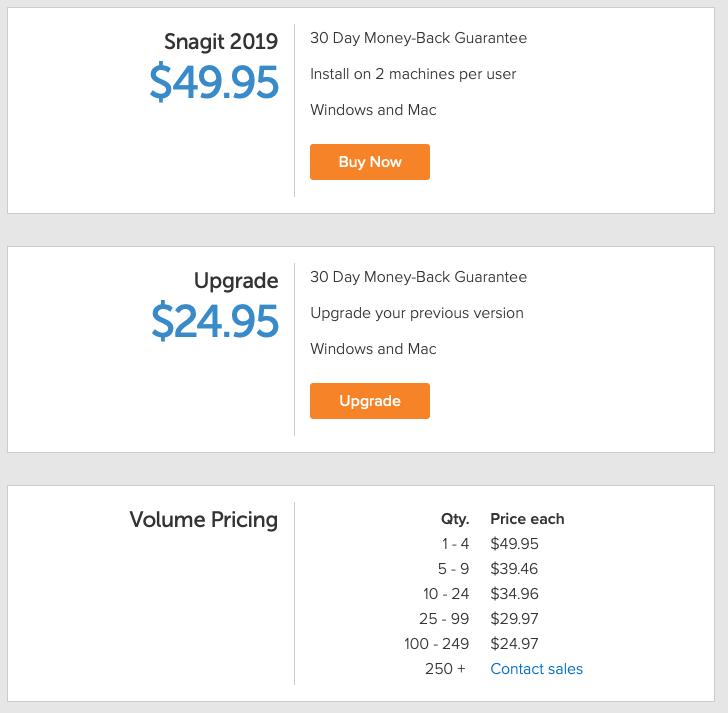snagit pricing