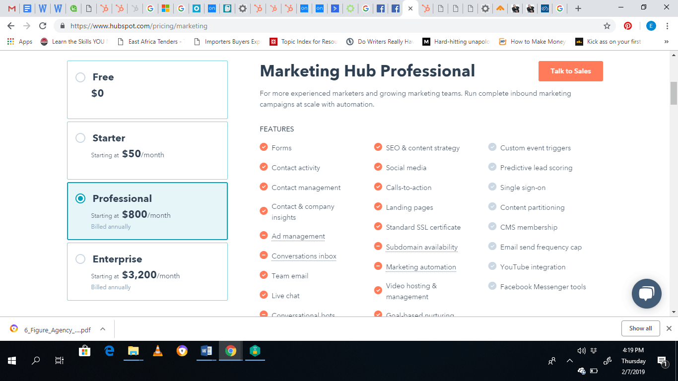 marketing hub professional