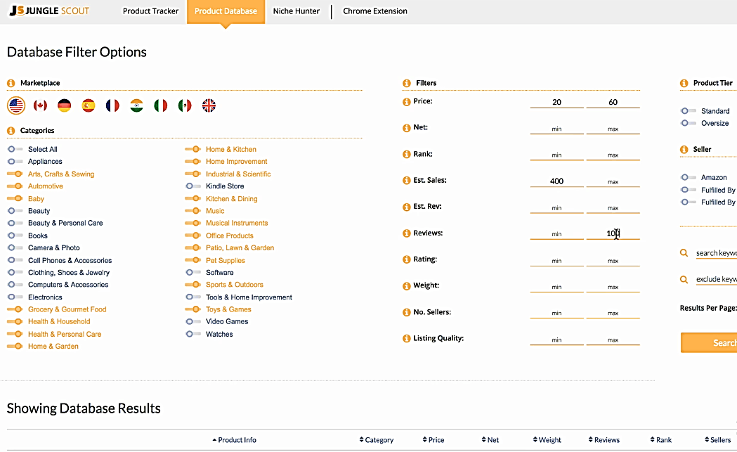 Jungle Scout Database Filter Options