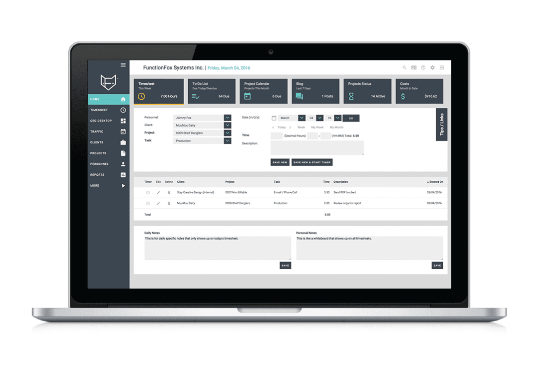 FunctionFox - project management software - home
