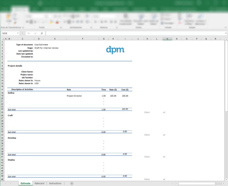 Free project estimate template