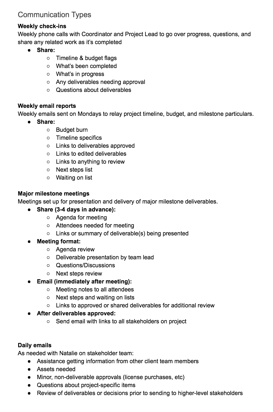 Create A Project Communication Plan Template
