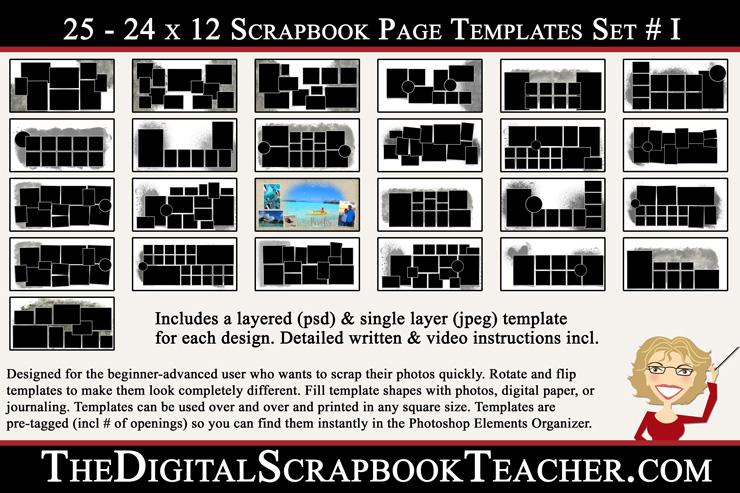 Shop for a drawing template from creative memories with the sunny days journal template. 24 X 12 Double Wide Scrapbook Page Templates I 25 Download The Digital Scrapbook Teacher