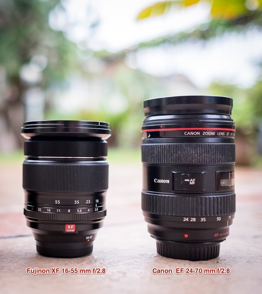 A size comparison between the Fujinon XF 16-55 mm f/2.8 and the Canon EF 24-70 mm f/2.8L