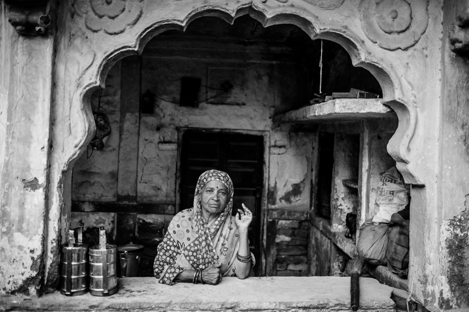 Jodhpur woman in her kitchen.