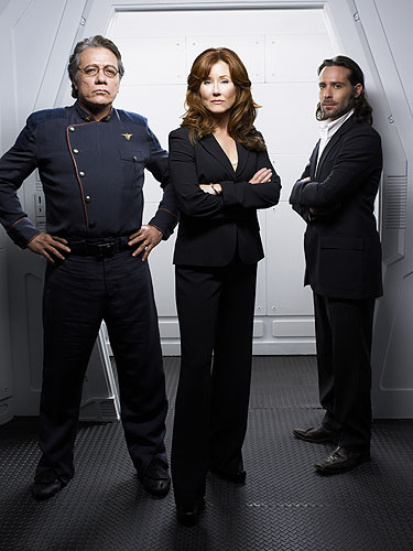 """Commander William Adama, President Laura Roslin, and Gaius Baltar will be performing a dance to """"Steam Heat,"""" from The Pajama Game."""