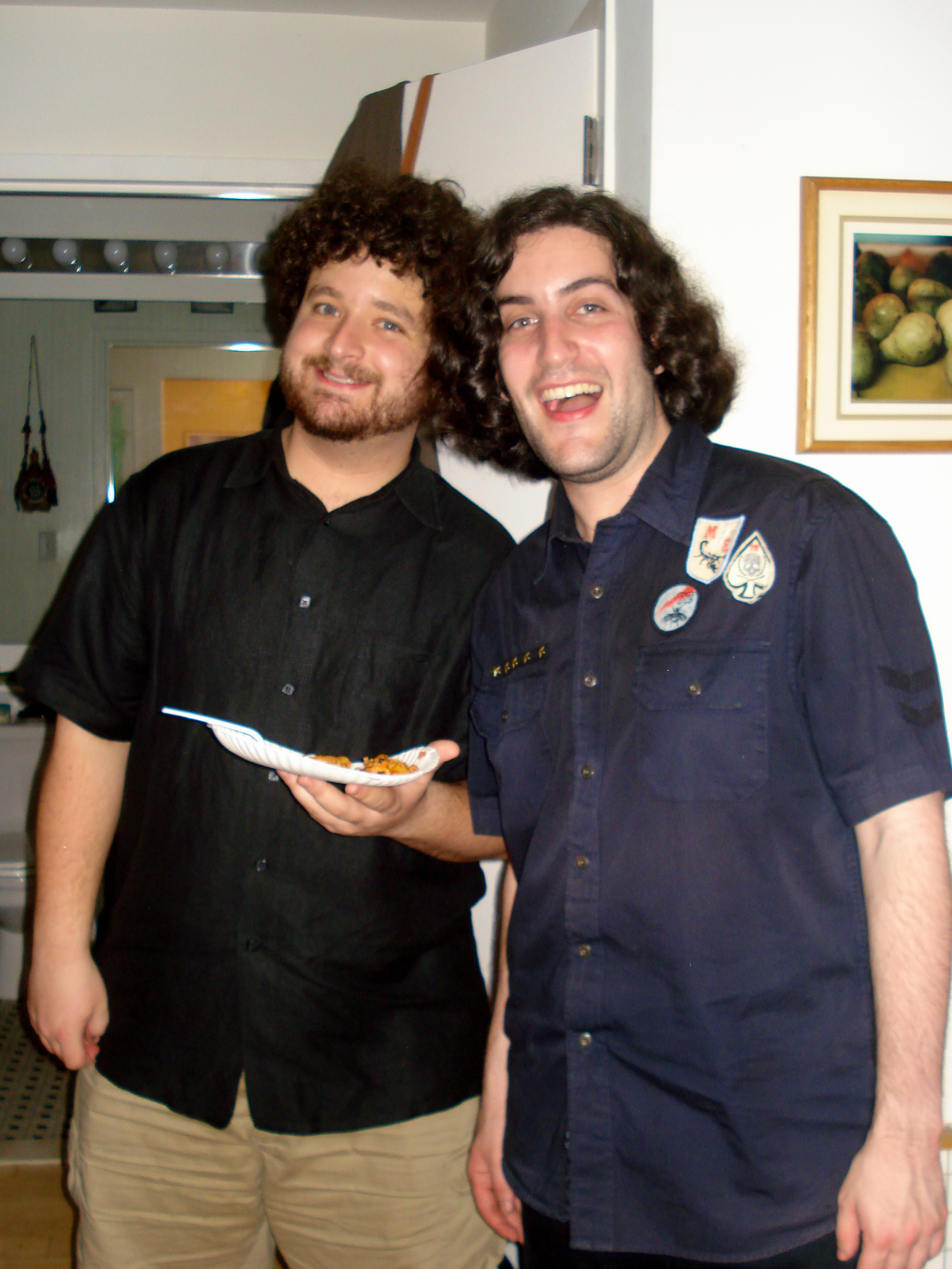 Eric, the creator of the Battlestar Galatica musical, and Phil, with a plate of baked ziti.
