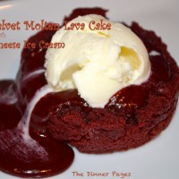 Red Velvet Molten Lava Cake with Cream Cheese Ice Cream