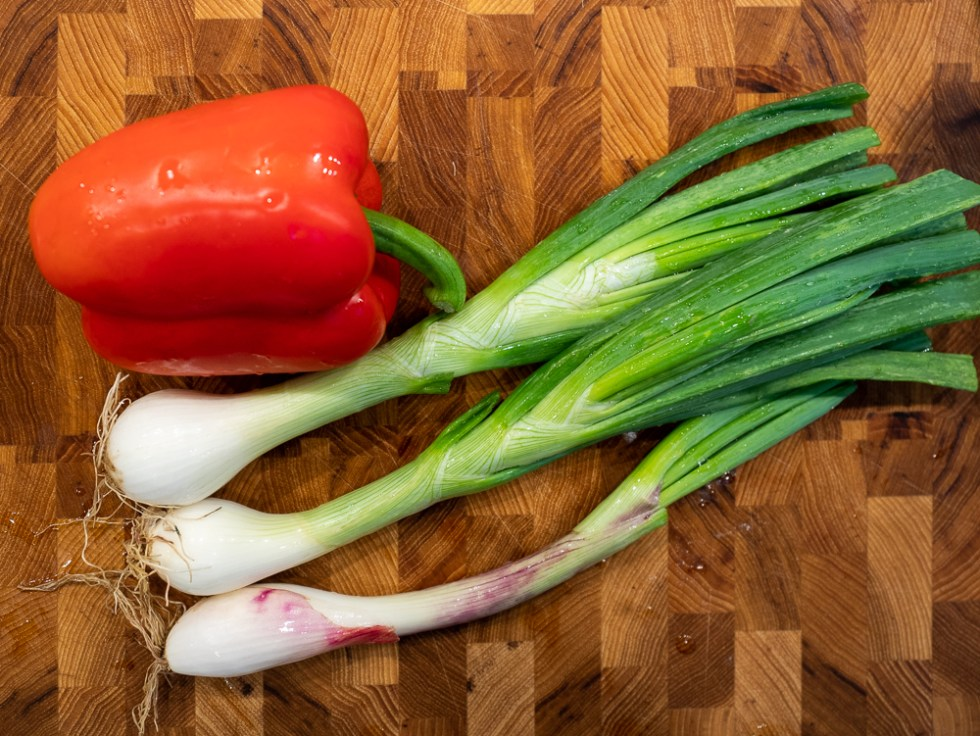Spring Onions and Red Pepper