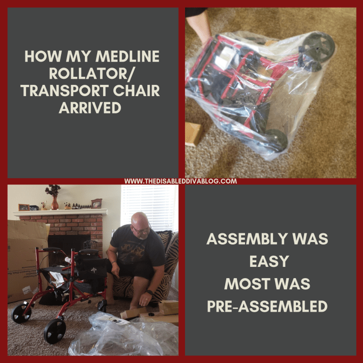 How my Medline rollator/transport chair arrived and how much was pre-assembled.