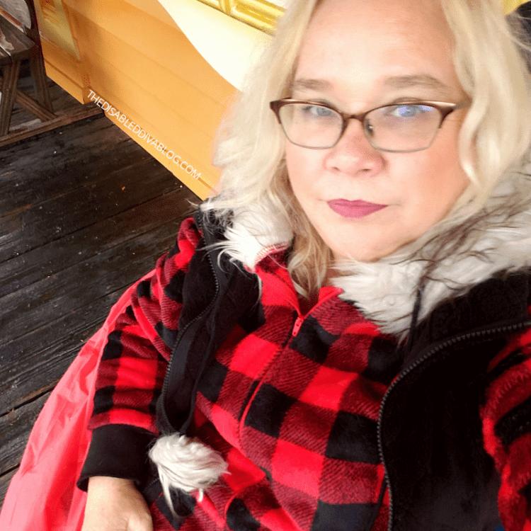 staying warm in my new plaid onesie