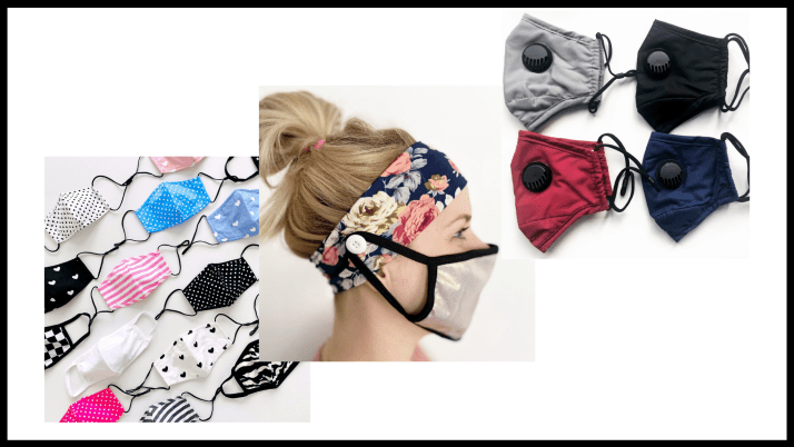 Washable face masks, filters, and headwraps for mask loop.