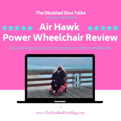 Photo of The Disabled Diva on her pink Air Hawk power wheelchair on the pier at Imperial Beach California with the Pacific ocean in the background