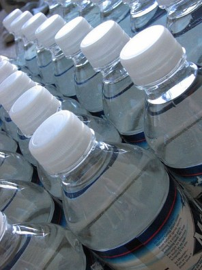 Entire air cargo haulers flew hundreds of thousands of water bottles like this into Kabul every day.