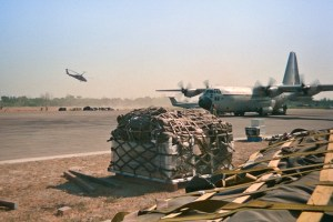 A Canadian military Hercules aircraft delivers relief supplies to East Timor