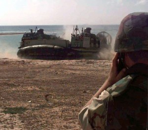 A U-S hovercraft beaching at Mogadishu. The is capable of speeds of over 40 knots and loads of 60 tons.