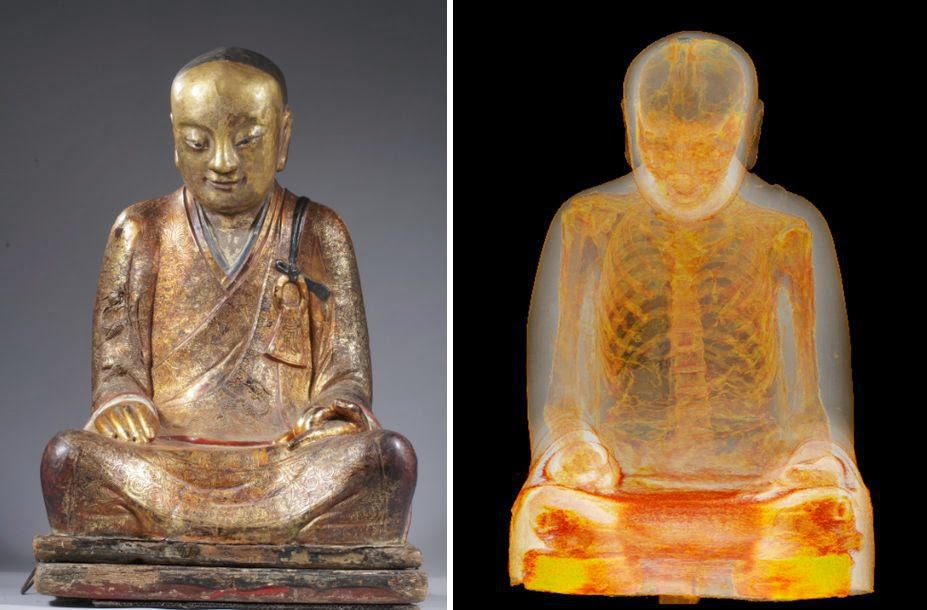 Mummified remains of monk found inside 1,000-year-old Buddha statue