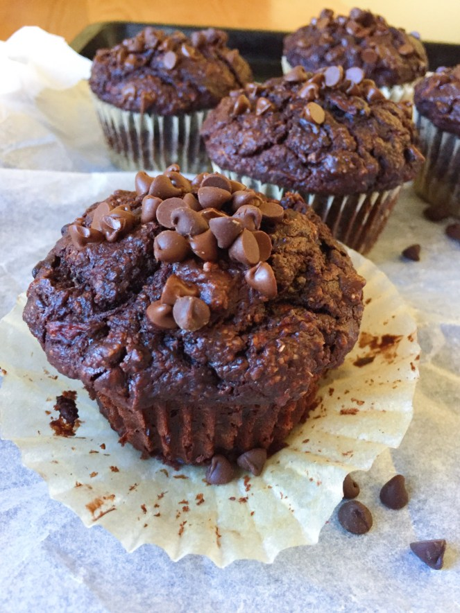 double chocolate zucchini muffins 9