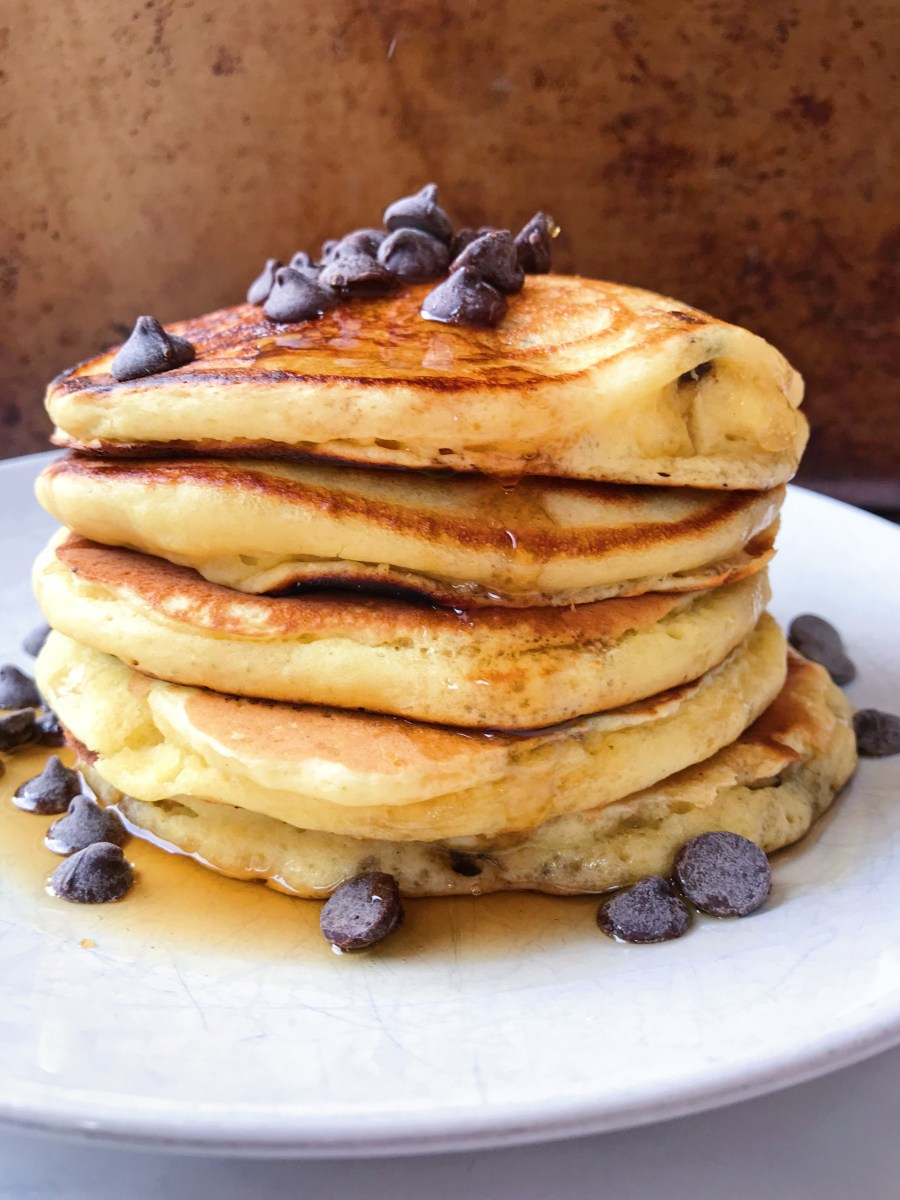 Oat Flour Chocolate Chip Pancakes