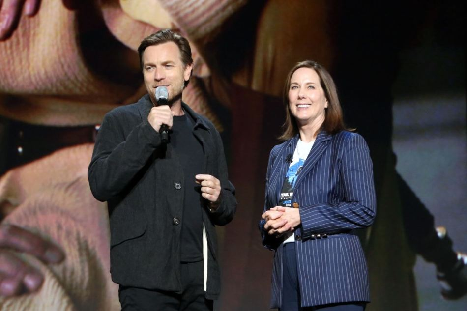 Ewan McGregor and Kathleen Kennedy on stage at D23 2019