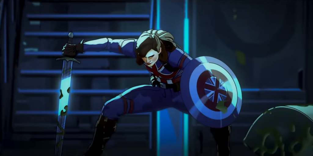 The new multiverse version of Captain Britain - Captain Carter jumps into action.
