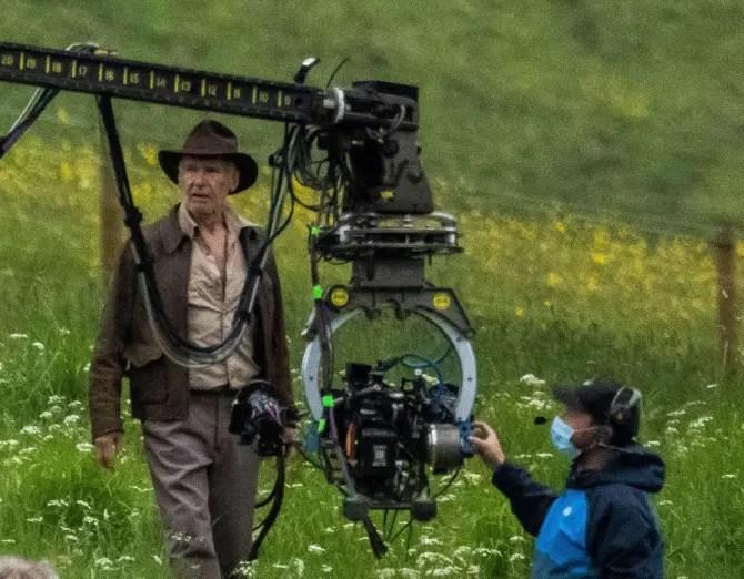 Harrison Ford on set of Indiana Jones 5.