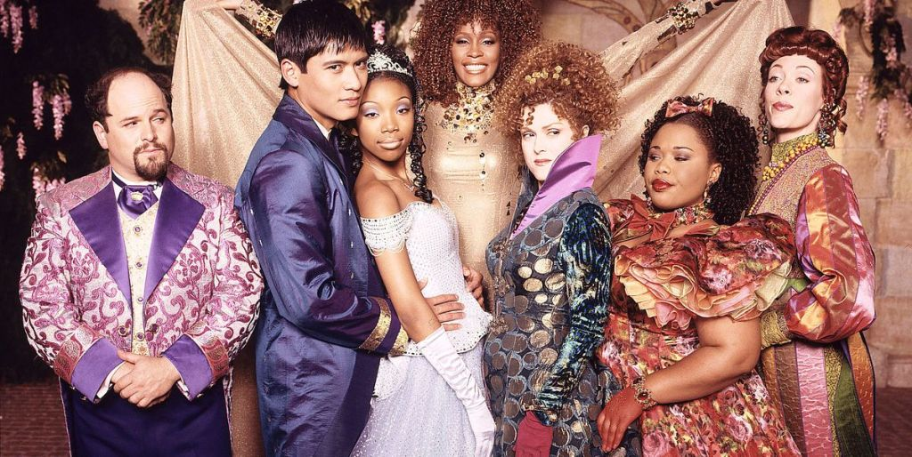 Jason Alexander, Paolo Montalbán, Brandy, Whitney Houston, Bernadette Peters, Natalie Desselle Reid & Veanne Cox in a publicity still for the Rodgers & Hammerstein's Cinderella.