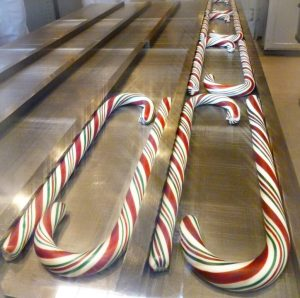 Candy canes formed and ready for bubble wrap.