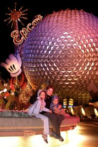 My wife and our 2 kids in December 2006: that was our first trip with our children.