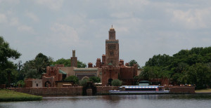 The Morocco pavilion, seen from the World Showcase lagoon, before the new Spicy Road restaurant was added, blocking a bit the view.