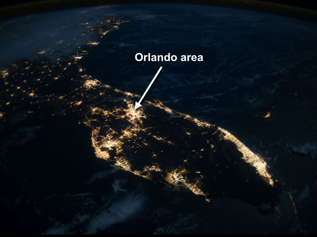 Is walt disney world visible from space the disney for Space station florida