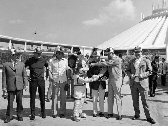Cosmonauts and astronauts in front of Space Mountain in February 1975, few weeks after the roller coaster opening.