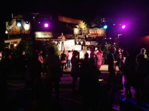 Dinoland transformed as a night club for the post-race party.