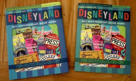 """The Story of Disneyland Exhibition and Sale Catalog"" by Van Eaton Galleries is available in hard (left) or soft (right) cover."