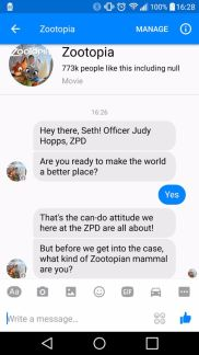 judy hopps takes over facebook messenger ZOOTOPIA