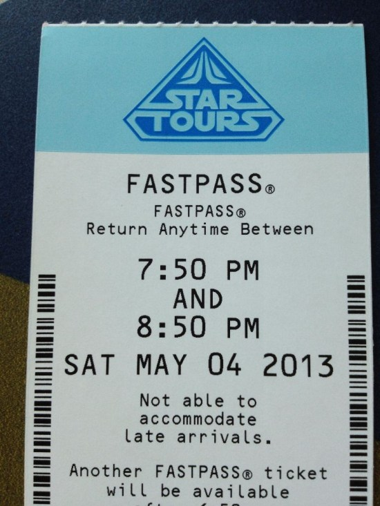 Star Tours Paper Fast Pass - Throwback Thursday