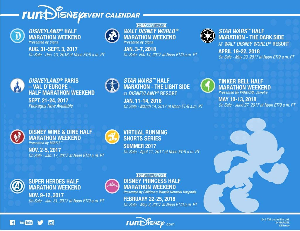 runDisney Event Calendar 2017-18