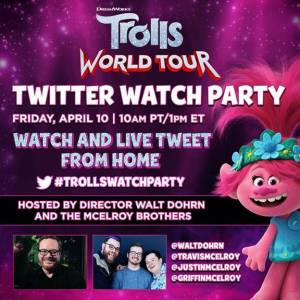 Trolls world tour twitter watch party
