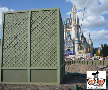 Back at Magic Kingdom, the partner statue is still under cover the following day.