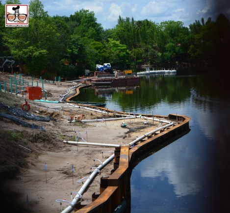 """Construction is in full swing for """"Rivers of Light"""" on the Discovery river - Nemo the Musical is to the left."""