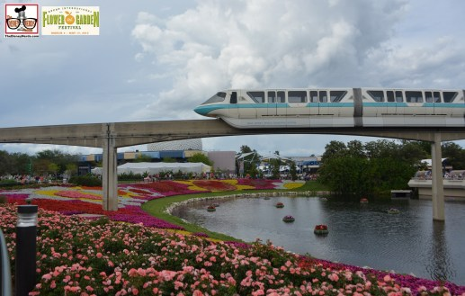 Monorail passes over the Festival Blooms - Epcot International Flower and Garden Festival 2015
