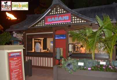 Hanami - another of the outdoor kitchens. Frushi; Teriyaki Curry Bun; Salmon Sush - Epcot International Flower and Garden Festival 2015